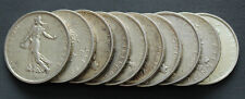 Lot de 10 pièces d'argent 5 francs Semeuse années variées Silver coin France