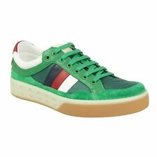 NIB GUCCI Green Leather Striped Lace Up Sneakers Shoes 8.5/9.5