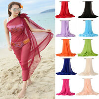 Women Large Chiffon Sarong, Swimwear Pareo, Scarf, Beach, Cover-Up, Wrap, Kaftan