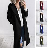 Women Long Slim Overcoat Outwear Winter Warm Wool Lapel Trench Parka Coat Jacket
