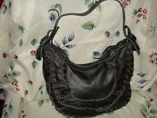 INGE CHRISTOPHER BLACK LEATHER HOBO BAG BEAUTIFUL AUTHENTIC NEW SUPER SALE!