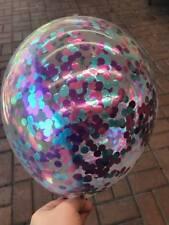 3x Metallic Pink Purple & Blue Confetti Clear Balloons - Unicorn Mermaid Party