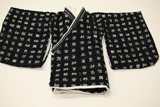 1/4 Bjd Msd Short Kimono top - indigo beige kanji characters