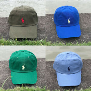 Polo Baseball Cap Embroidery Pony Adjustable Hat Royal Blue Baby Green Olive
