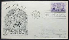 US Aristocrats cachet COVER FDC newspaper Boys STAMP 3c usa solo tag lettera (h-7403