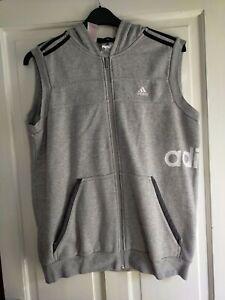 Boys Adidas 15-16yrs Sleeveless Hoody Grey
