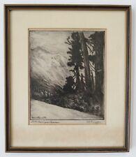 """VTG Oregon Artist Alfred Schroff """" In the Washington Cascades """" etching 1930s"""