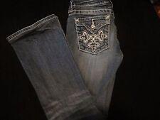 ! Miss Me Girls Boot Cut Distressed Bling Flap Pocket Jeans Sz 14 JP5335B 24X27