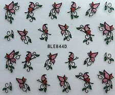 Nail Art 3D Glitter Decal Stickers Butterfly Pink & Red Glittery E10/BLE844D