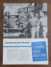 Original 1944 Print Ad Featuring 1932 PLYMOUTH Taxi in Bombay Vintage Art