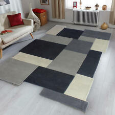 Flair Rugs Abstract Collage Modern Contemporary Check Patterned Soft Wool Rug