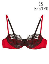 Myla London Isabella Non Padded Balcony Bra 32C 10C Red Satin Black Lace NEW