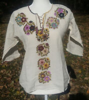 Maya Mexican Blouse Top Shirt Embroidered Flowers Chiapas White Small/Medium 350