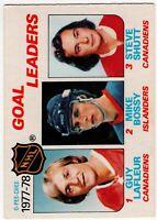 1977-78 1978 79 OPC NHL GOAL LEADERS LAFLEUR BOSSY SHUTT  CARD #63