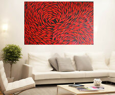 Aboriginal Art Oil Painting large 190cm x 110cm fish red by Jane Crawford