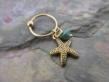 """Gold Turquoise Starfish Cartilage Piercing Captive Ring Tragus Earring 14G 1/2"""""""