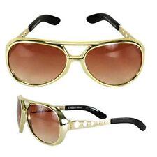 Adult Vegas Music Star Gold Brown Rock Roller King Elvis Aviator Costume Glasses
