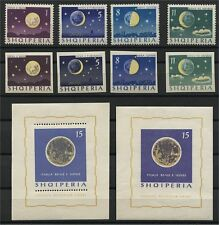 ALBANIA, MOON PHASES, PERF + IMPERF SET + 2 SOUVENIR SHEETS MNH