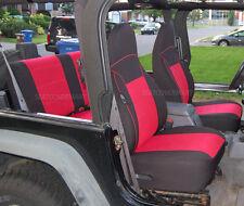 Neoprene Car Seat Cover Full Front&Rear BLACK Red for TJ 1997-2002 Jeep Wrangler