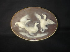 Collectable Genuine Incolay StoneDucks w/ Gold tone Handcrafted Belt Buckle
