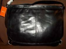 Latico Black Leather Messenger Briefcase Padded for Protection $398 NWT  NICE!