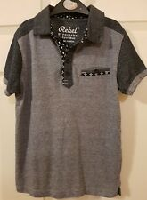 Boys Black Marl and Grey Marl Striped Polo T-shirt  7-8 yrs by Rebel