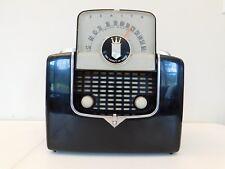 VINTAGE OLD ANTIQUE 1950s ZENITH BLACK & CHROME FLIP TOP MID CENTURY TUBE RADIO