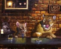 FUNNY CAT cougar on the prowl cats drinking mountain lion 8 X 10 art print