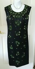 Black Yellowgreen Bead Trim Embellished Sequin Pearl Formal Sheath Dress Medium