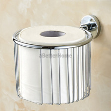 Chrome Toilet Paper Roll Holder Basket Wall Mounted Washroom Tissue Wire Bracket