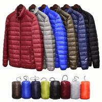 Men's Packable Parka Duck Down Jacket Ultralight Stand Collar Winter Coat Puffer