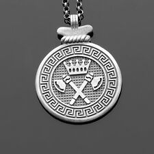 Mens Medallion Necklace Silver Medallion Pendant Necklace For Man Jewelry Gift