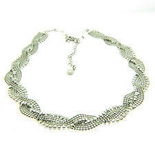 Alfani Rhinestone Braided Beaded .Necklace Silver Tone .5x16-21""