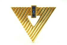 Vintage Tiffany & Co. 14k Yellow Gold Sapphire Triangle Pin Brooch