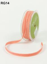 "3/8"" Grosgrain Ivory Striped Ribbon - May Arts - RG28 - Orange/Ivory - 5 Yards"