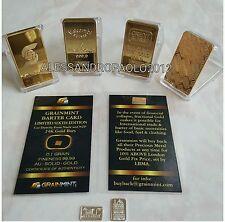 LOTTO 4 LINGOTTI DA COLLEZIONE! ORO PURO 24k ARGENTO PURISSIMO 999 E PLATED GOLD