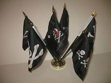 "Pirate Pirates Jolly Roger Set 6 Flags 4""x6"" Desk Set Table Stick Gold Base"