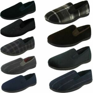 Clarks Mens Slip On Twin Gusset Textile Comfort Home Slippers King Twin