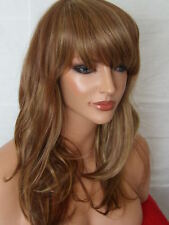 Mid Length Wavy Light Brown Highlight Fashion costume natural Women wig F9