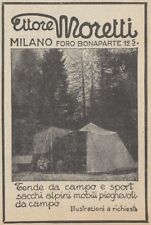 Z2721 Tende da campo ETTORE MORETTI - Pubblicità d'epoca - 1923 old advertising