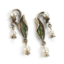 NEW SWEET ROMANCE ART NOUVEAU LILY OF THE VALLEY PIERCED EARRINGS