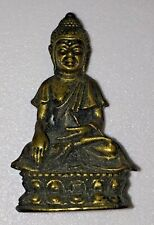 VINTAGE ORNATE BRASS METAL BUDDHA SMALL STATUE FIGURINE Marked, ~1.5 Inches