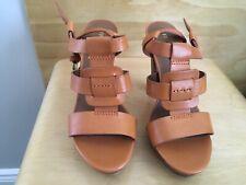 Franco Sarto Orange  Leather Sandals, Size 6