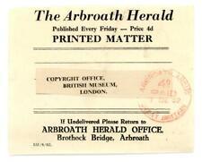 1962 GB Arbroath Herald label with Arbroath Angus Paid postmark