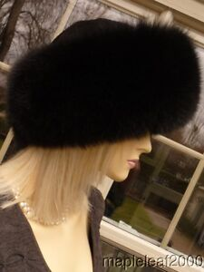 LUXURIOUS AUTHENTIC BLACK FOX FUR SUEDE HAT *NEW* SMALL