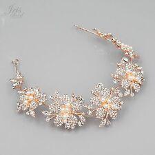 Crystal Pearl Flower Headband Headpiece Tiara Wedding Accessory 05694 ROSE GOLD