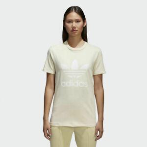 New Women's Adidas Originals Trefoil Tee Shirt [CV9893]  Yellow // White