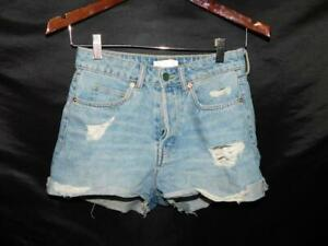 H&M Size 4 Cut Off Blue Jean Denim Shorts Distressed High Rise Pockets H & M 36