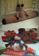 King Cole Dk Chunky Christmas Knitting Pattern Tree Skirt Draught Excluder  9009