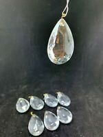 "8 Crystal glass prism chandelier lamp parts pear almond shape 2""  tear drop"